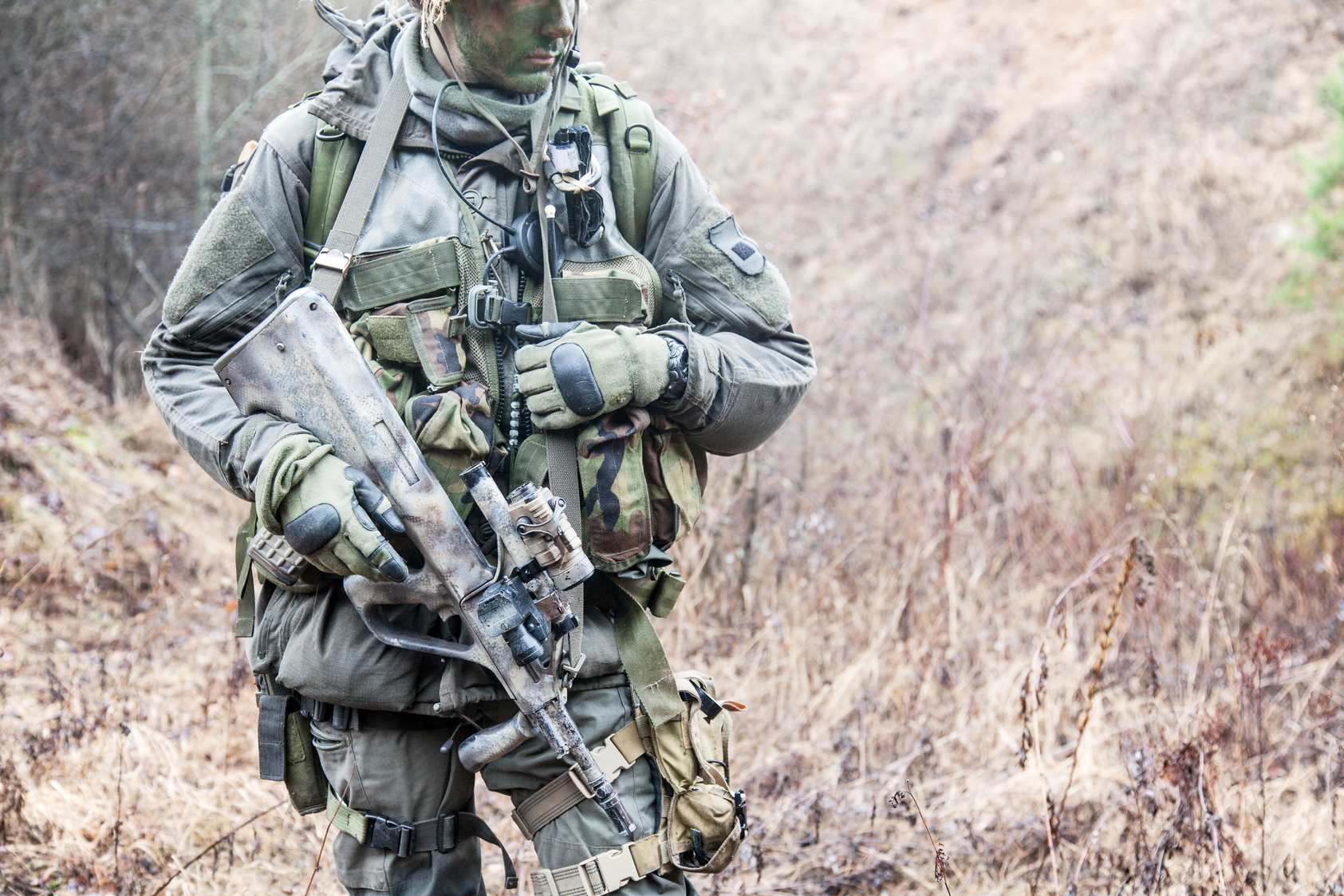 Jagdkommando soldier Austrian special forces equipped with Steyr assault rifle during the raid
