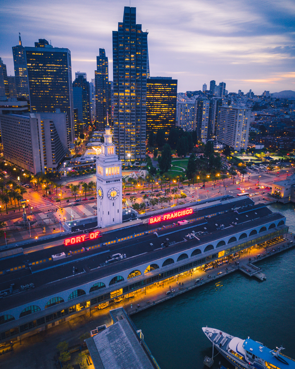 Aerial view of San Francisco Ferry Building and Embarcadero at Night