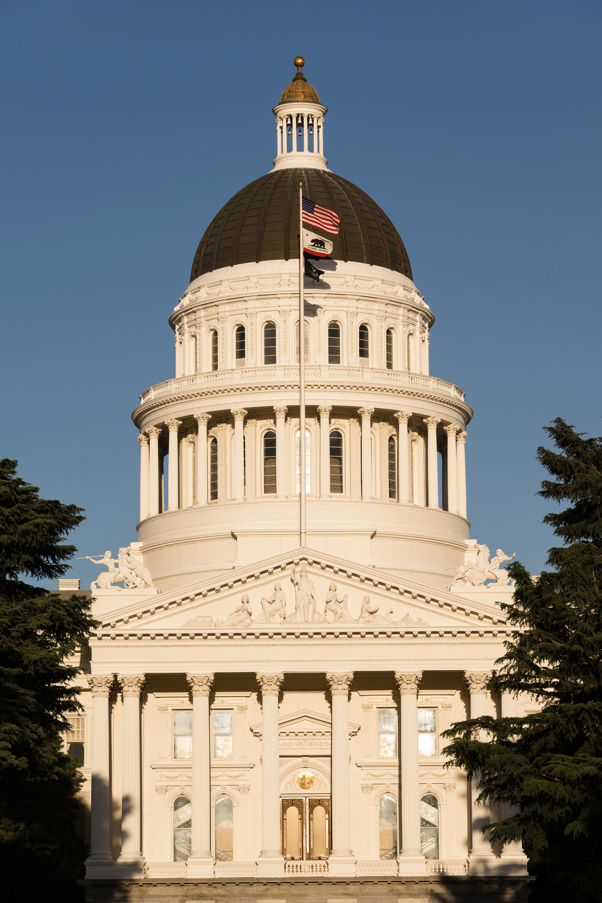 The flags fly in front of Sacramento's Capital Building
