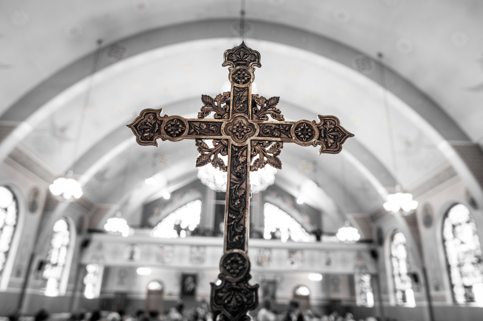 Detail of a Cross inside of an Ukranian Church