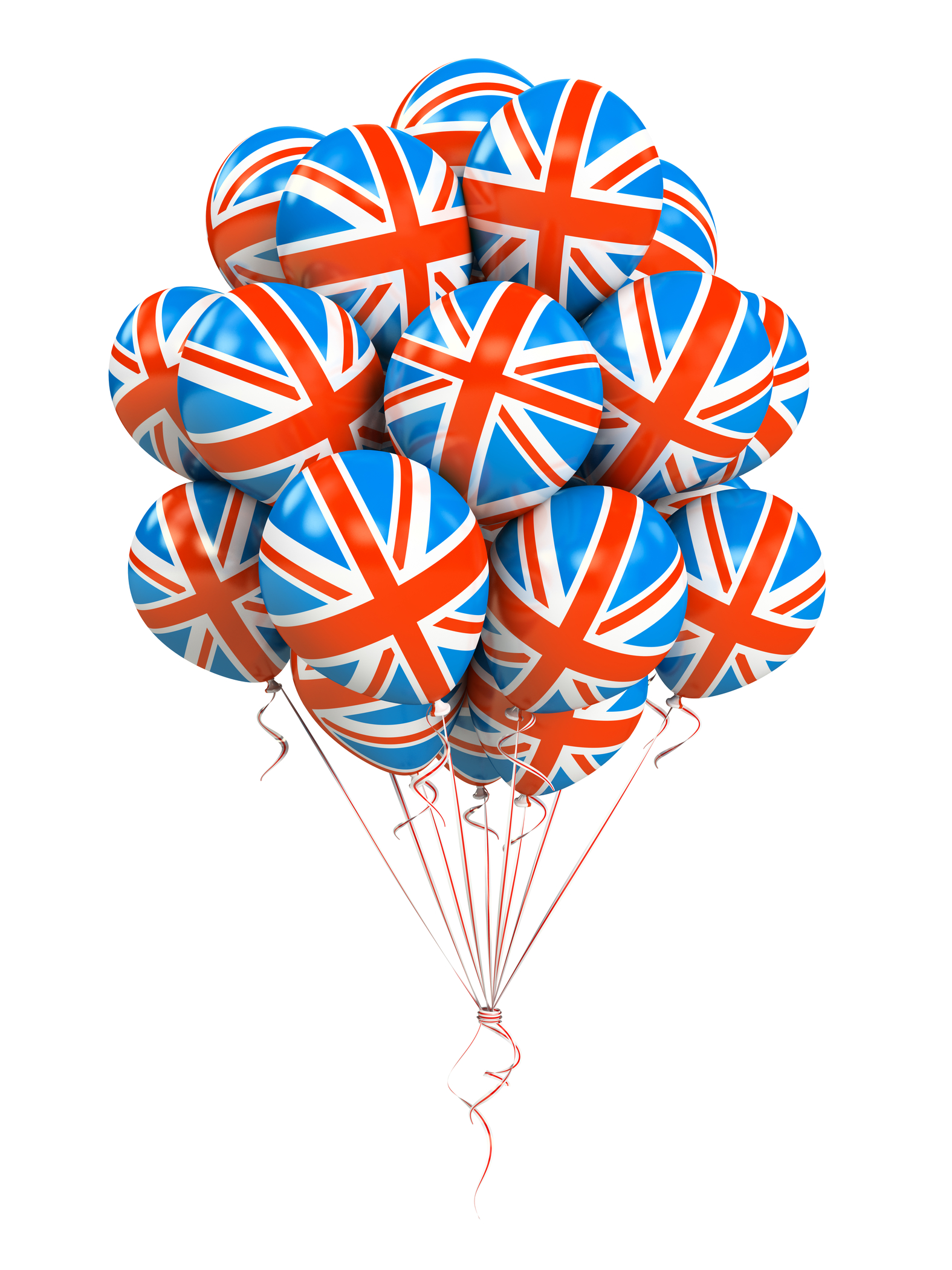 Bunch of Great Britan flag balloons isolated on white background