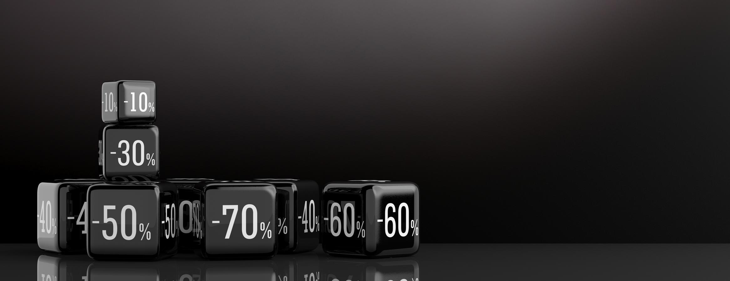 Black Friday sale concept. Sale symbol on black cubes, black background. 3d illustration